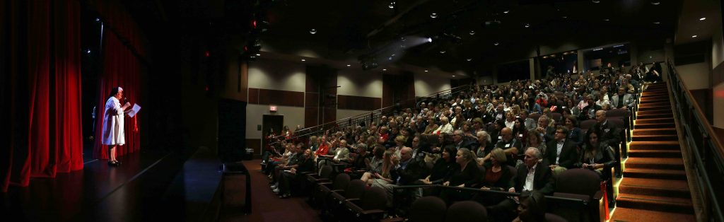 Sr. Carolyn welcomed a full house to the opening of the Arts Center earlier this year