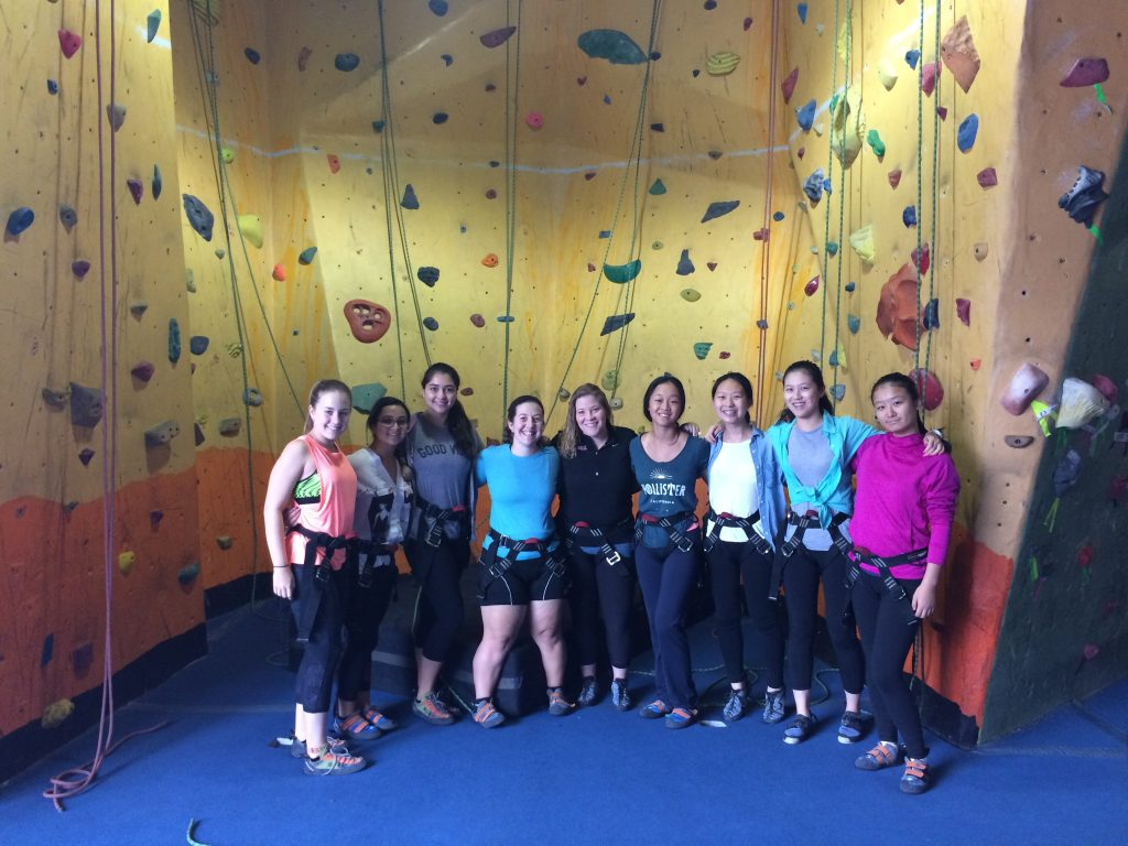 Katie and girls from the boarding hall enjoying a rock climbing outing
