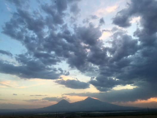 Mt. Ararat from the view of the Sardarapat Museum